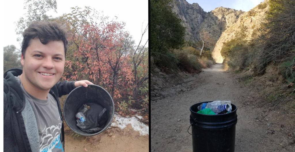 20yr Picks up Trash on Trail