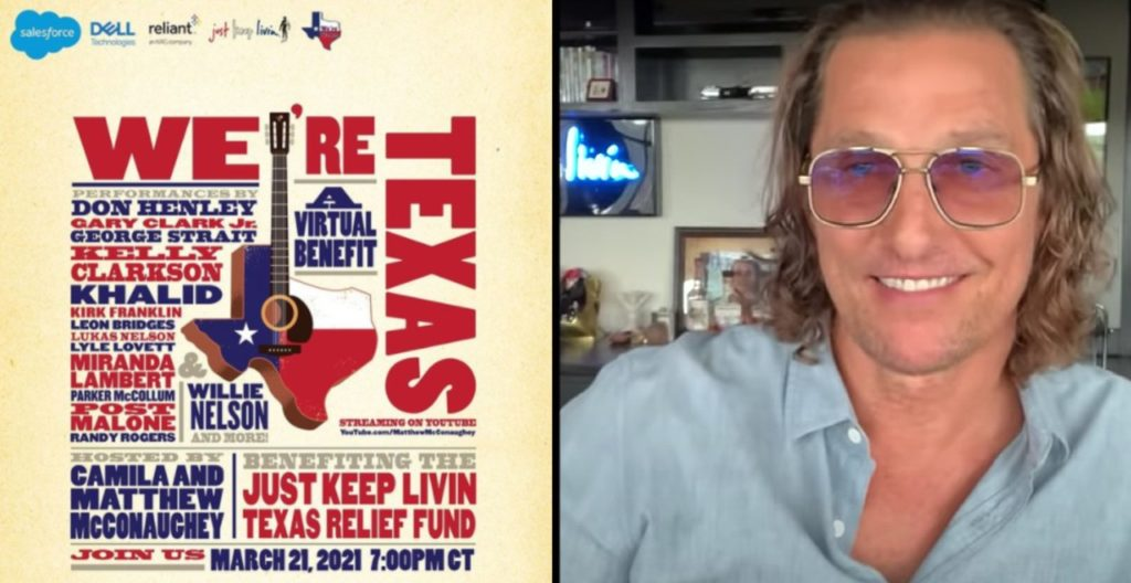 Matthew McConaughey holds virtual benefit concert for Texas
