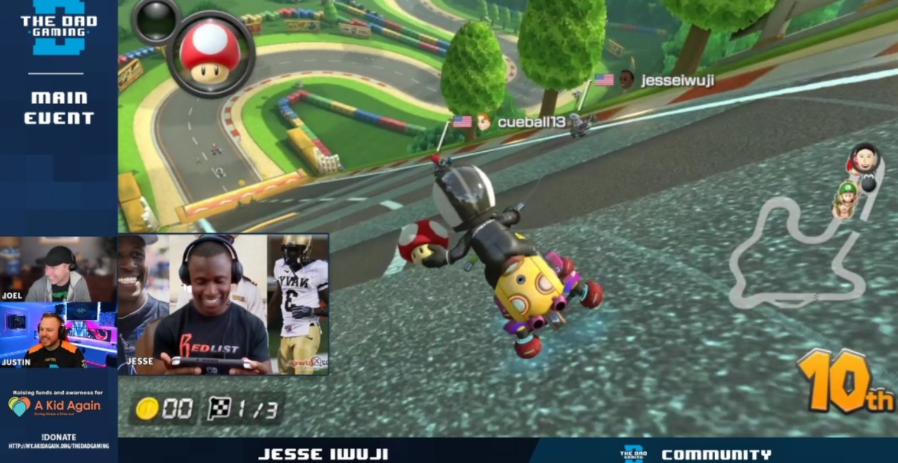 A Kid Again & The Dad Gaming Host Mario Kart Charity Race With NASCAR's Jesse Iwuji