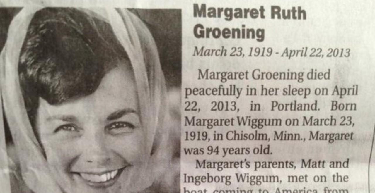 Margaret Groening Obit