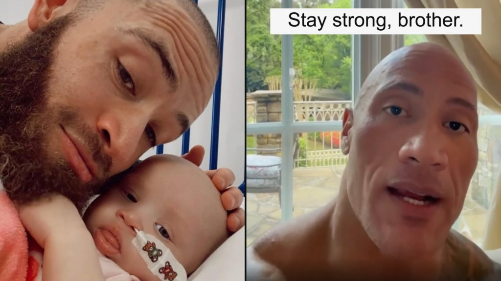 The Rock sends message of support to Ashley Cain during daughter's cancer battle