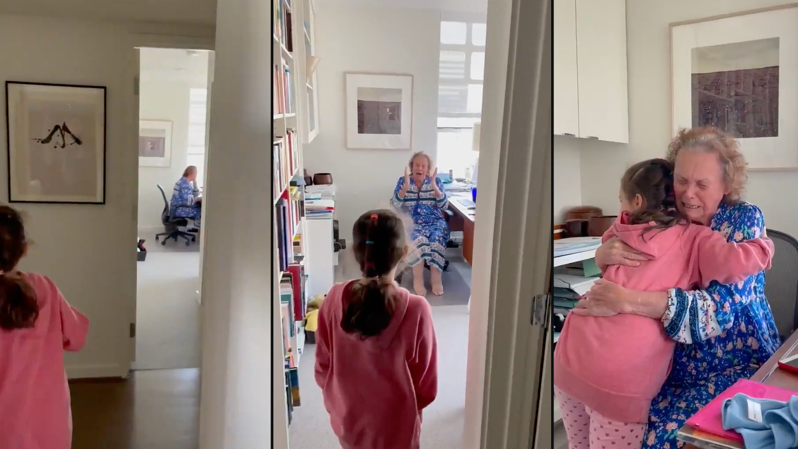 Dad captures touching grandma granddaughter reunion