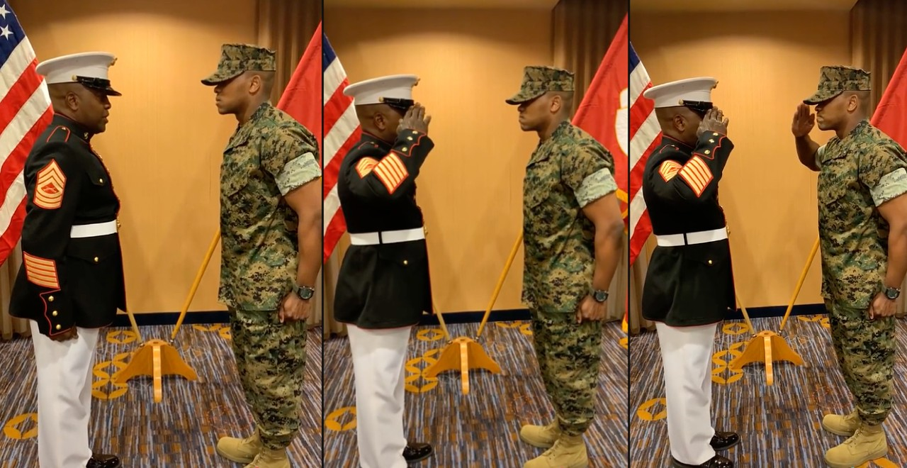 Newly Commissioned Officer Gets Moving First Salute From Dad