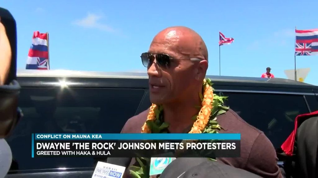 Dwayne speaks to the media about the protest in Hawaii