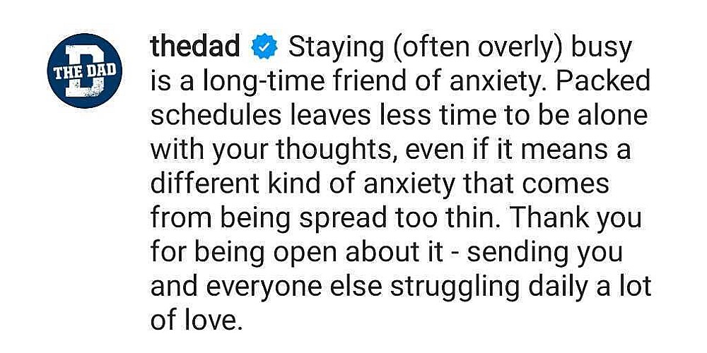 The Dad comments on Ryan Reynolds mental health post