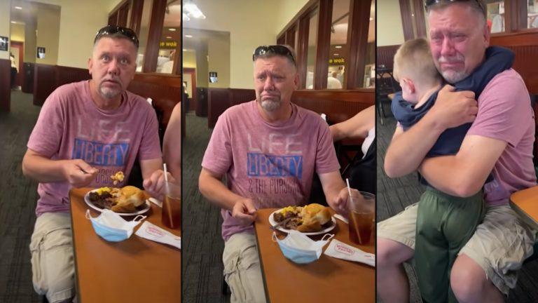 Grandpa's emotional response to grandson's surprise visit
