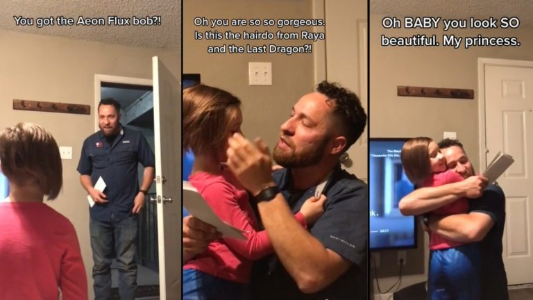Dad's wholesome reaction to daughter's haircut goes viral
