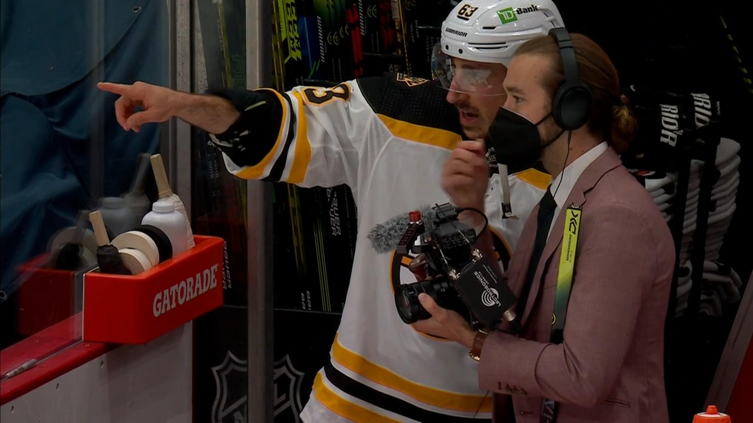 Brad Marchand spotted a young fan that was hit by a puck during warmups and had a signed stick sent over to make them feel better.