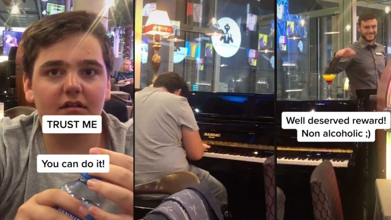 Dad encourages talented son to play piano at airport