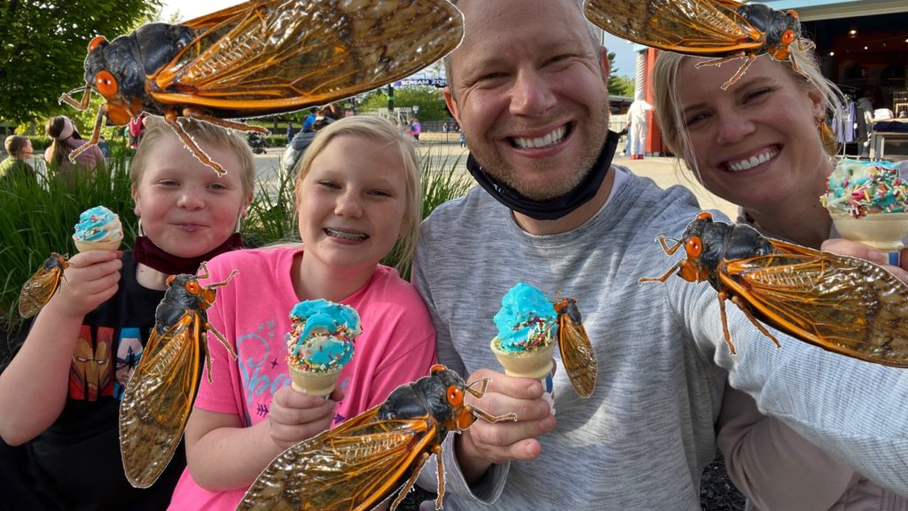 Artistic depiction of what the 2021 Brood X Cicadas will look like on the Joel Willis family.