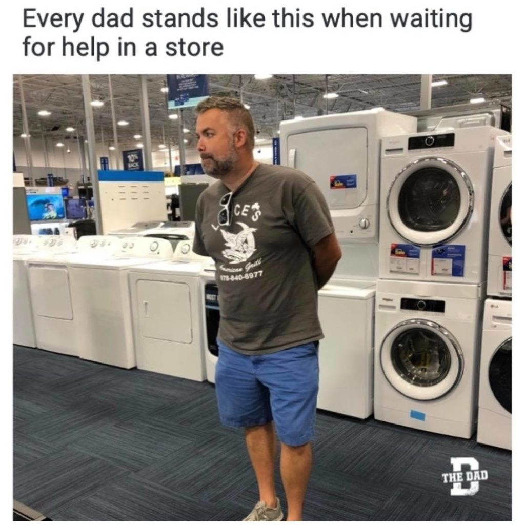 Every dad stands like this when waiting for help in a store. Hardware store, Lowes, Home Depot. Featuring Bottlerocket