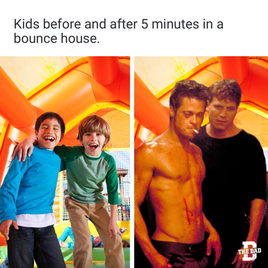 Bounce house Fight Club meme: Kids before and after 5 minutes in a bounce house.