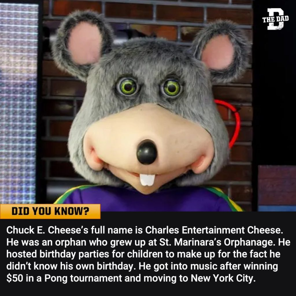 Did you know? Fact: Chuck E. Cheese's full name is Charles Entertainment Cheese. He was an orphan who grew up at St. Marinara's Orphanage. He hosted birthday parties for children to make up for the fact he didn't know his own birthday. He got into music after winning $50 in a Pong tournament and moving to New York City.