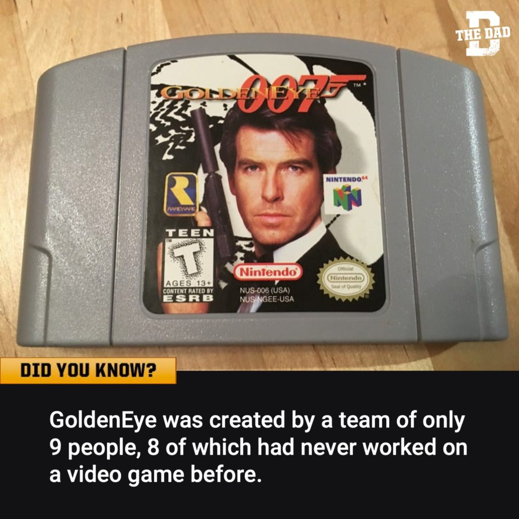 Did you know? Fact: GoldenEye was created by a team of only 9 people, 8 of which had never worked on a video game before. GoldenEye Nintendo 64 007.