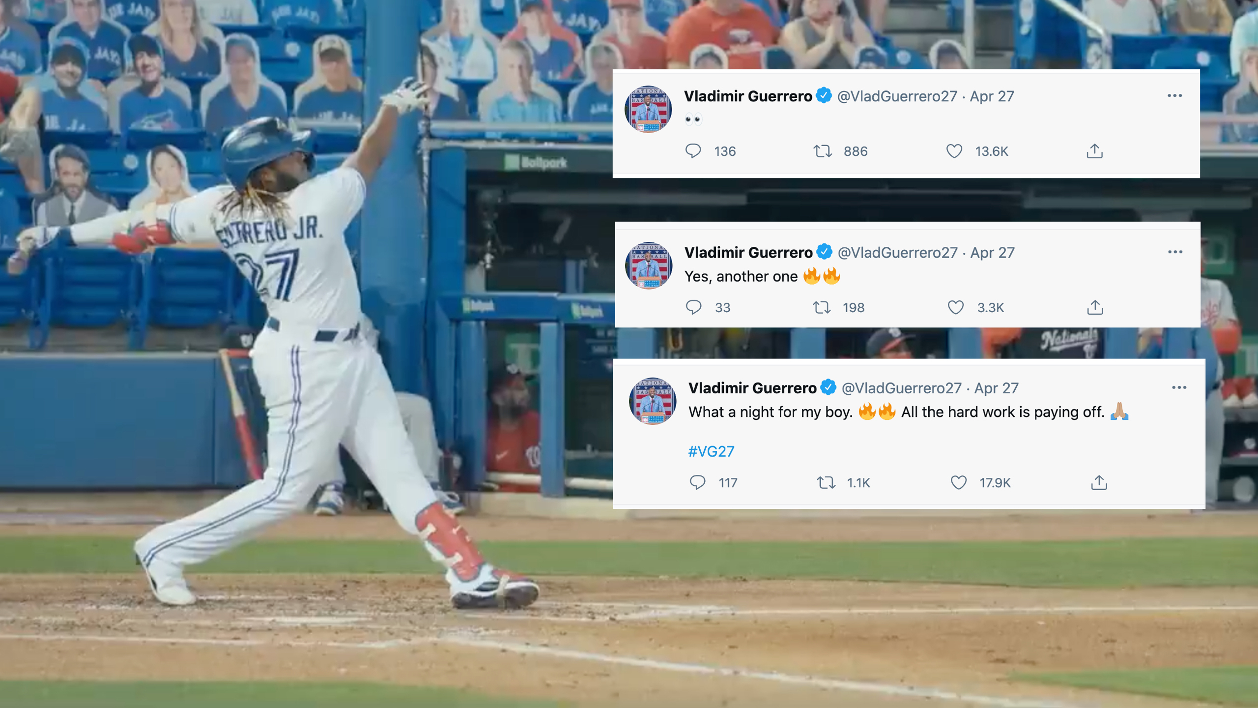 Vlad Guerrero Jr. Impresses his Dad with Home Run Display