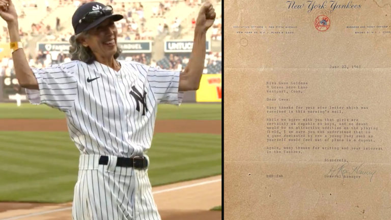 70 yr old Bat Girl for Yankees