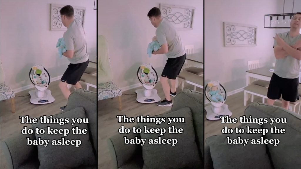 Dad expertly transitions sleeping baby to electric rocker by mirroring its movement