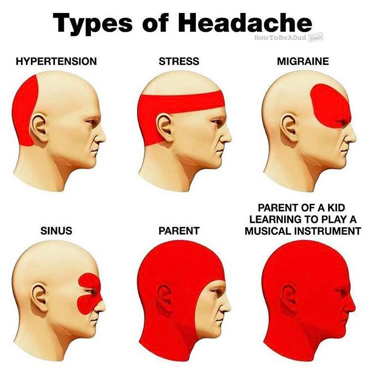 Types of headache: Hypertension, stress, migraine, sinus, parent, parent of a kid learning to play a musical instrument. Meme, health, parenting