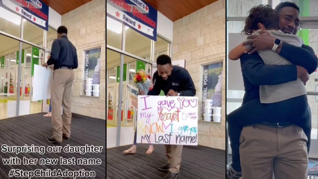 Dad surprises step daughter with new last name