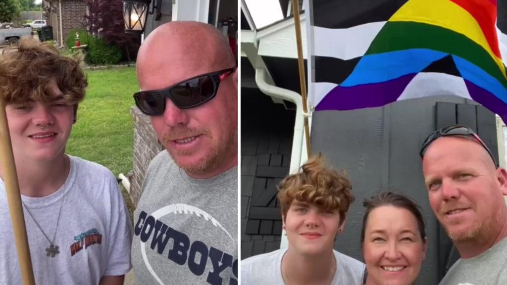 Dad Raises Pride Flag