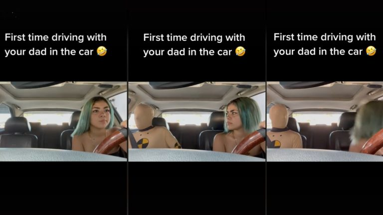 Dad dresses as crash test dummy for daughter's first drive