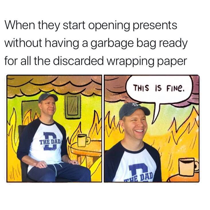 When they start opening presents without having a garbage bag ready for all the discarded wrapping paper. This is fine. Fire, disaster, party