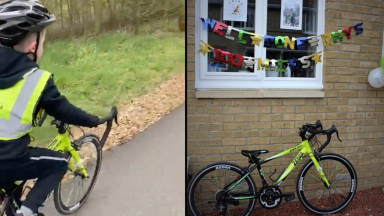 boy bikes 100 miles to save dogs in danger