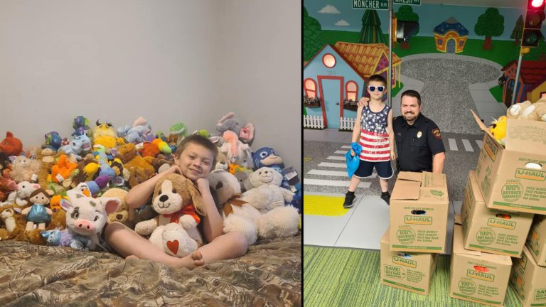 8-Year-old donates stuffed animals for his birthday