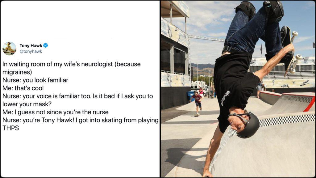 Tony Hawk finally recognized by skateboarding nurse