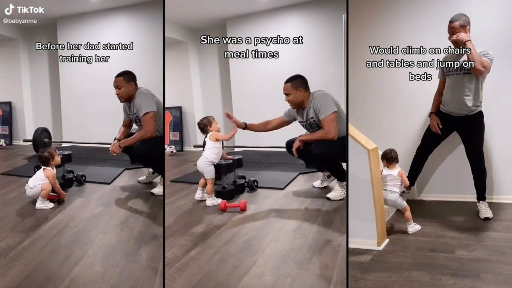 Dad and daughter adorably exercise together