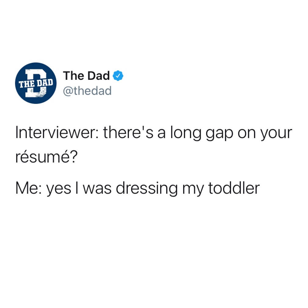 Interviewer: there's a long gap on your resume? Me: Yes I was dressing my toddler. Kids, parenting, tweet