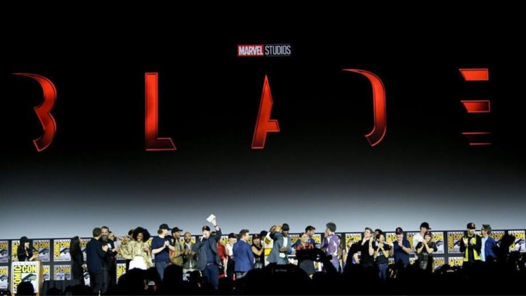 A crowd of people onstage at ComicCon 2019 after the announcement of Blade
