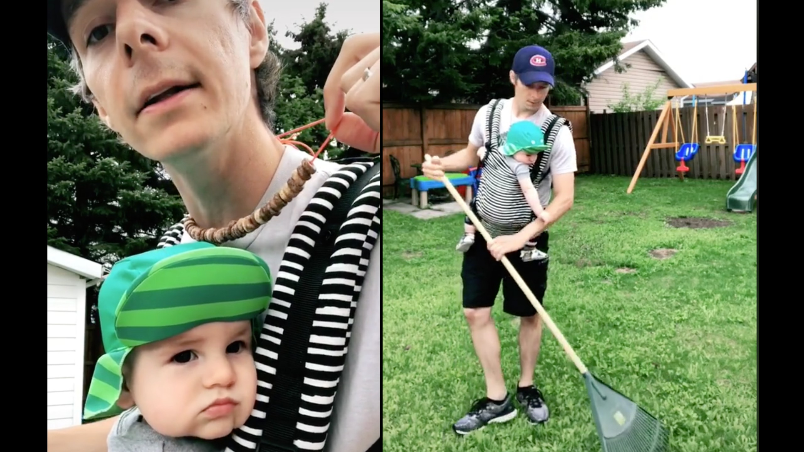 Dad demonstrates how to keep babies entertained while doing chores