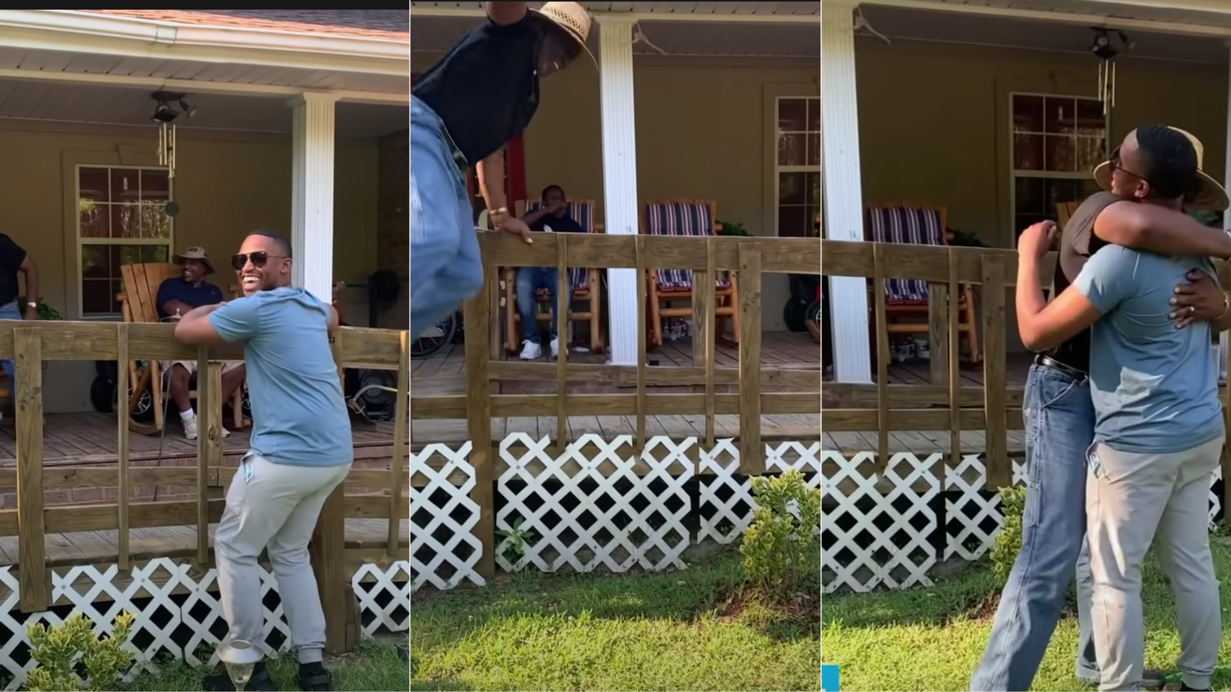 Three images showing the progression of a dad seeing his son on the front porch, jumping the fence and embracing him.