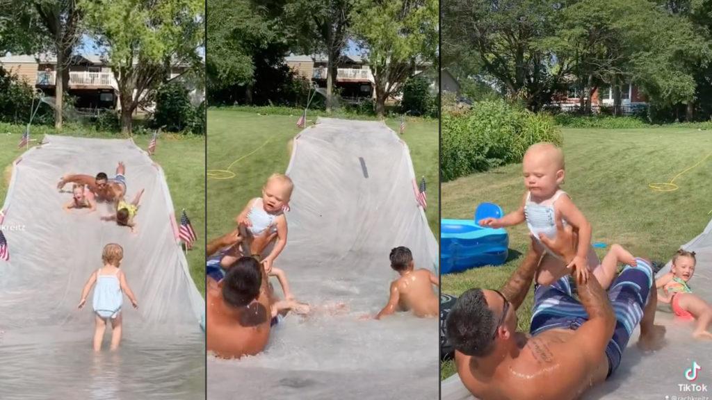 Dad reflexes save toddler