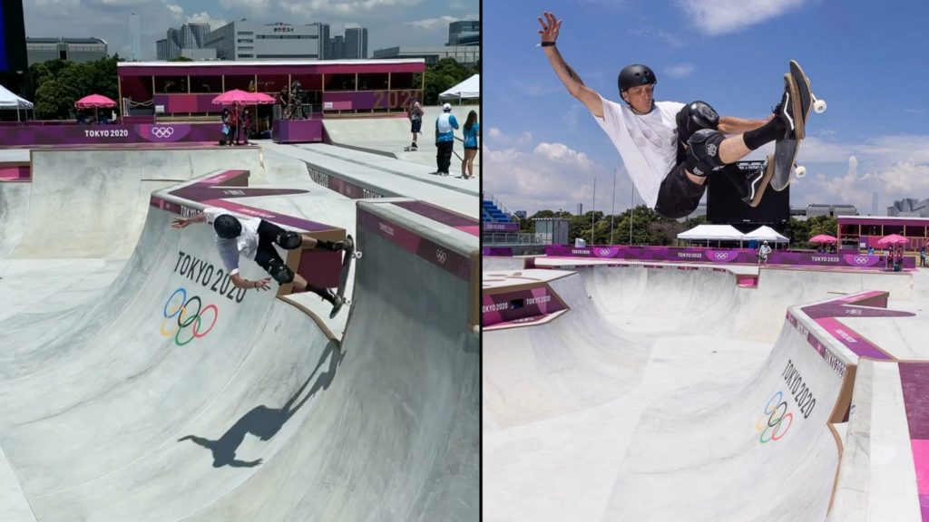 Tony Hawk attends first ever Olympic skating event, tests out Olympic skatepark