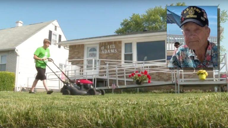 Teen mows veterans' lawns for free in memory of his grandfather