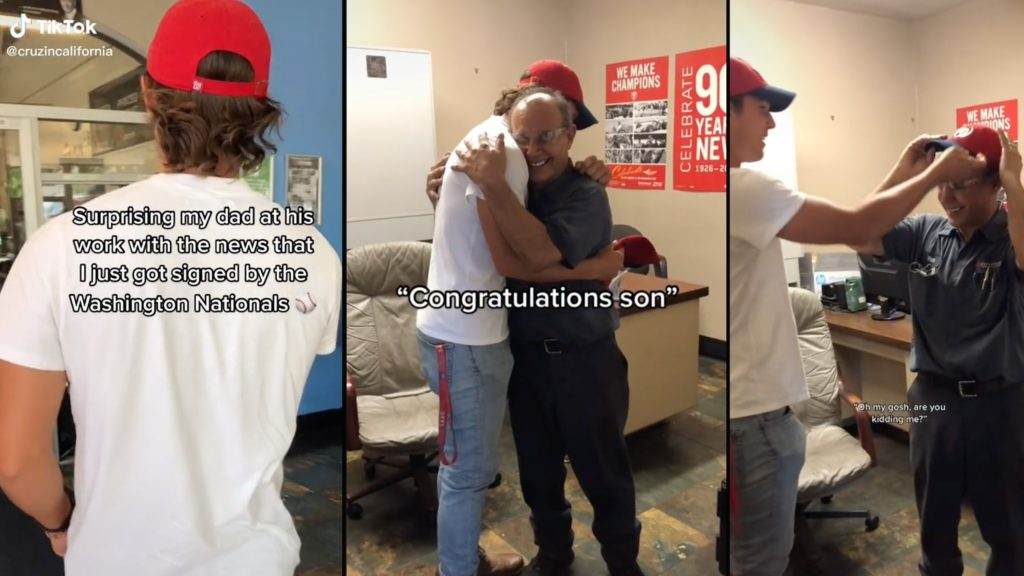 Baseball player surprises dad with news that he was signed to a major league team