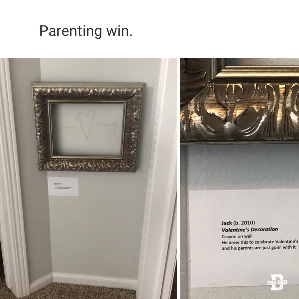 """Parenting win. Jack: """"Valentine's Decoration,"""" Crayon on wall. He drew this to celebrate Valentine's and his parents are just goin' with it. Art, funny, meme"""