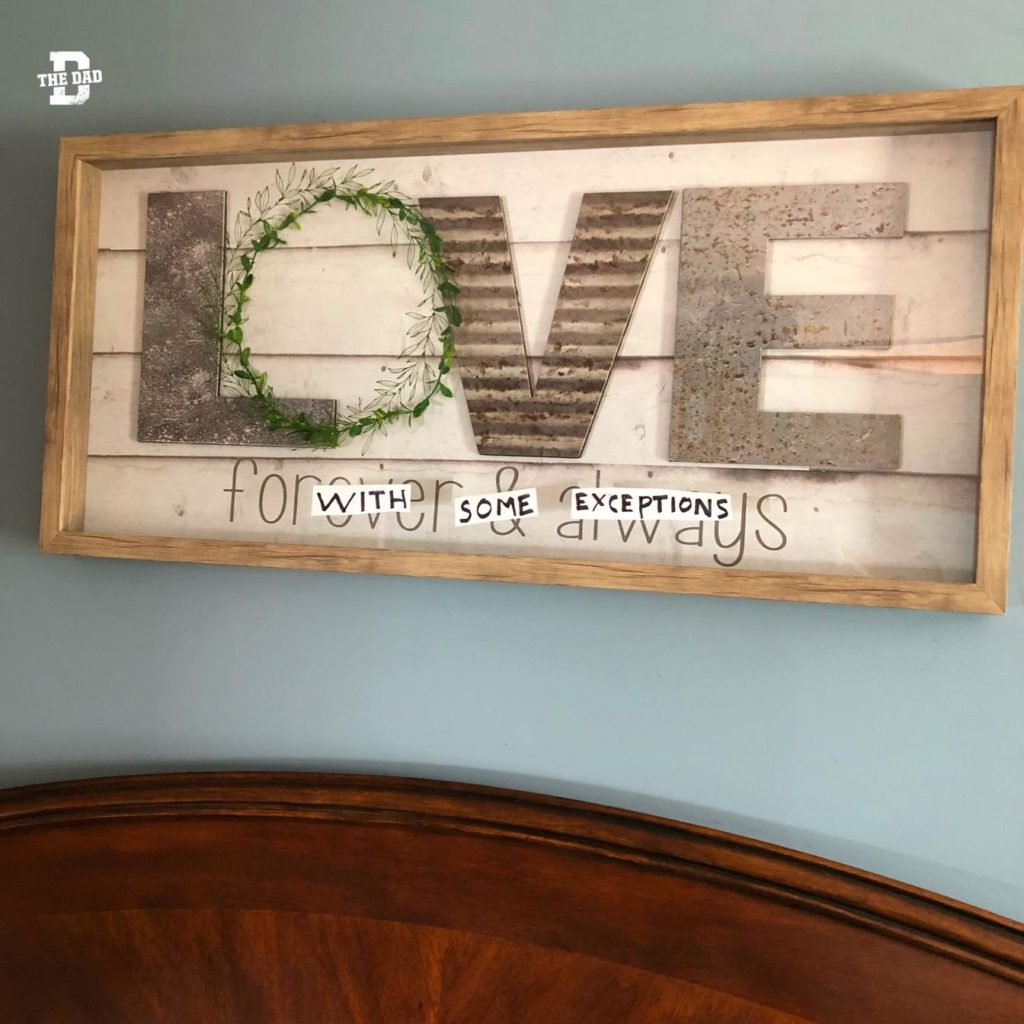 Love with some exceptions. Honest, art, encouragement, decoration