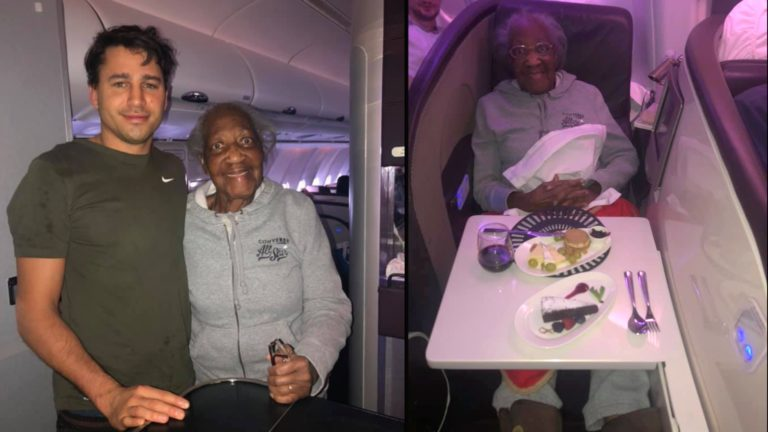 Generous stranger gives up first-class seat to elderly woman