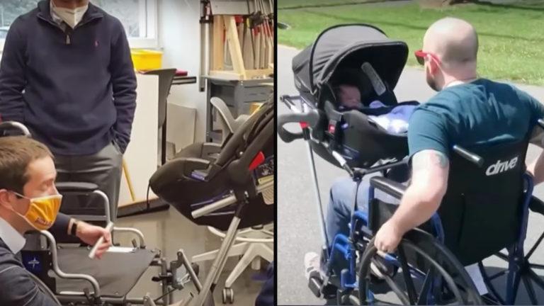 Wheelchair stroller designed by high school students