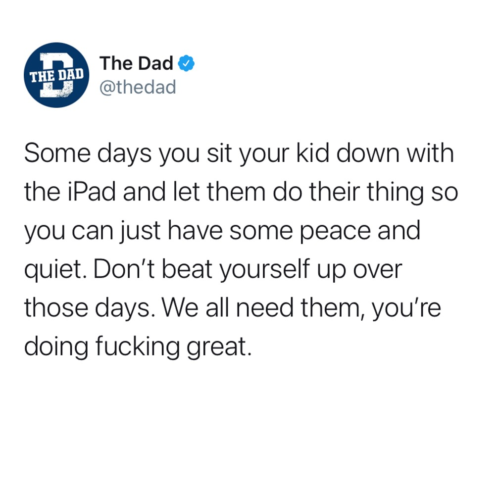 Some days you sit your kid down with the iPad and let them do their thing so you can just have some peace and quiet. Don't beat yourself up over those days. We all need them, you're doing fucking great. Tweet, encouraging, honest