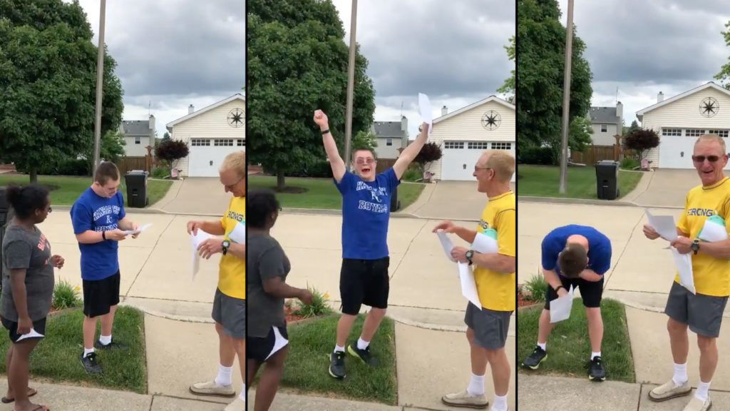 20-year-old's touching reaction to his college acceptance letter