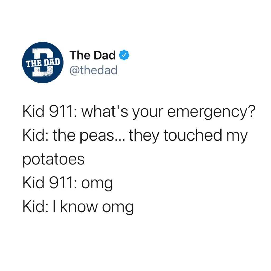 Kid 911: What's your emergency? Kid: The peas... they touched my potatoes. Kid 911: omg Kid: I know omg. Food, dinner, tweet