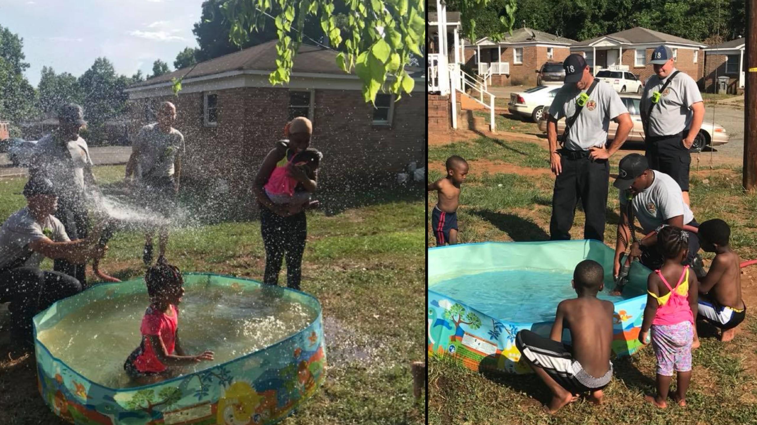 Firefighters stop to help fill kiddie pool