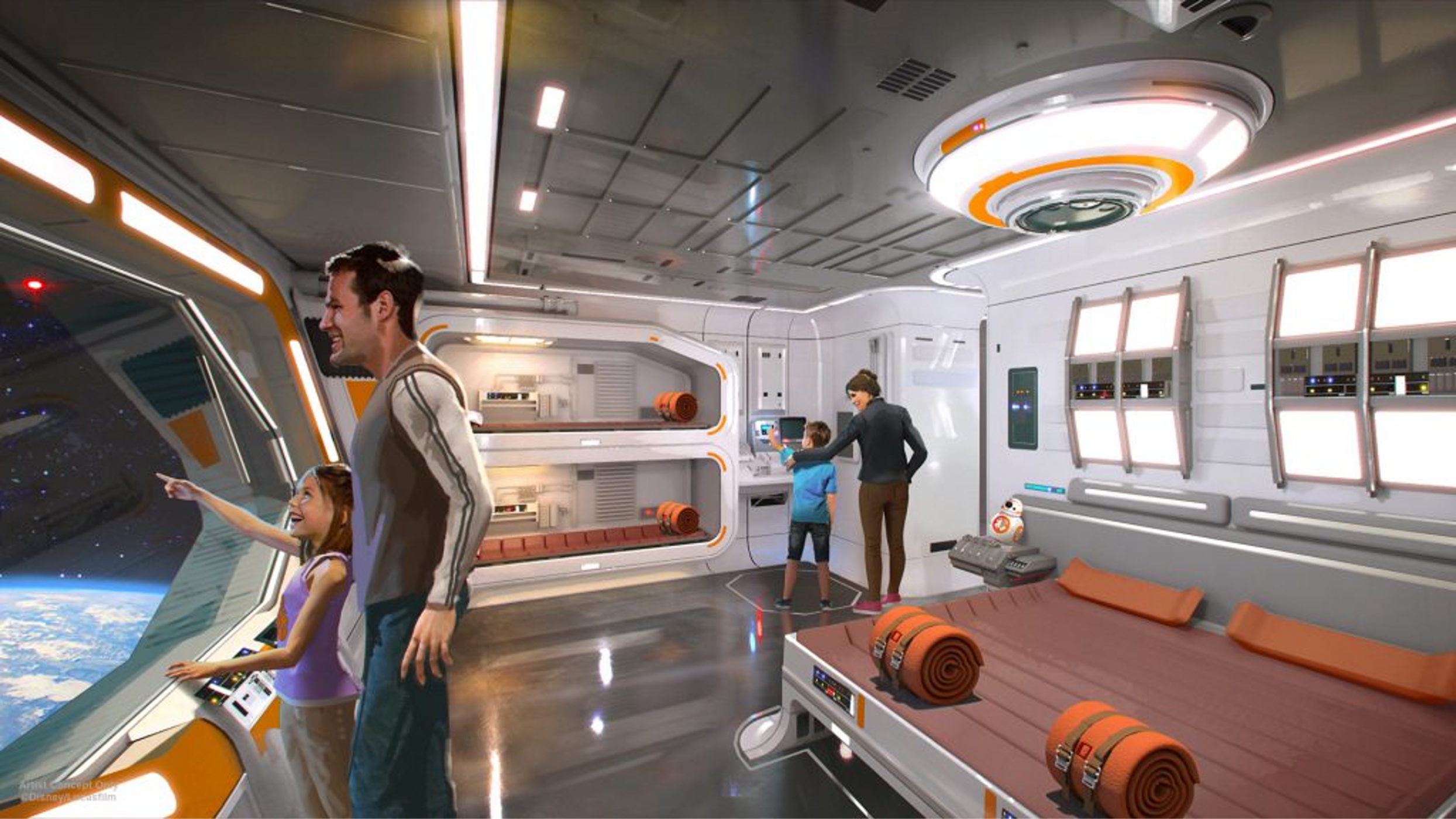 Artist's rendering of a family of three exploring a futuristic suite in Disney's Star Wars themed hotel