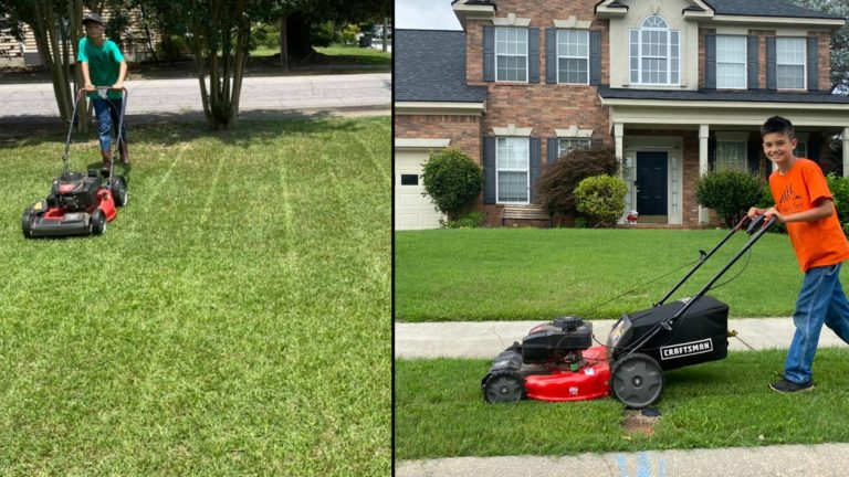 11-Year-Old mows 50 lawns for free