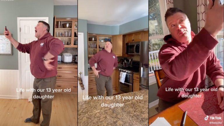 Dad hilariously imitates 13-year-old daughter