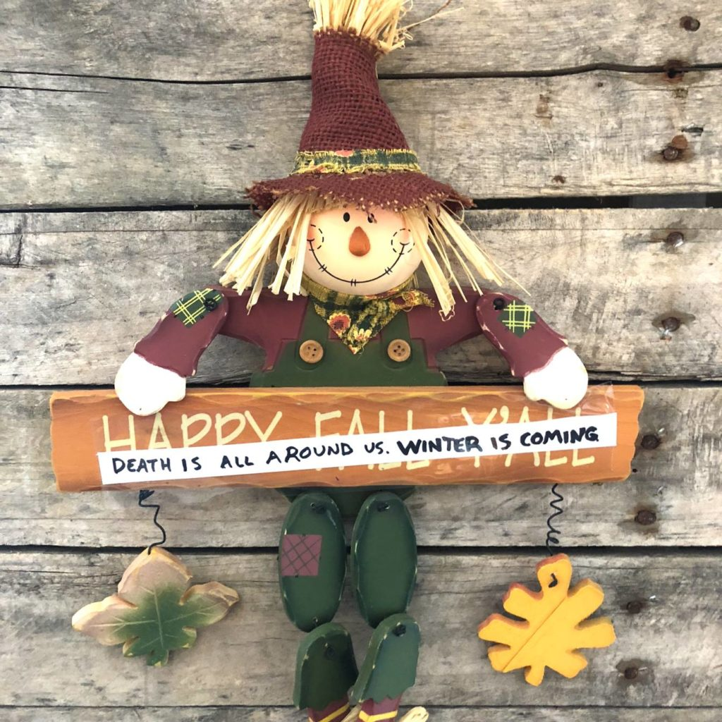Death is all around us. Winter is coming. Decoration, scarecrow, fall